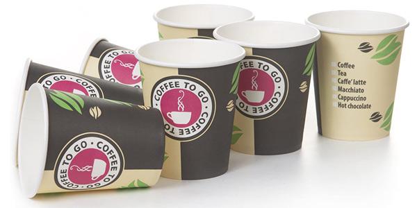 Pack x200 Vasos desechables de cartón para llevar bebidas calientes y frías de 240 ml/ud chollo en Amazon