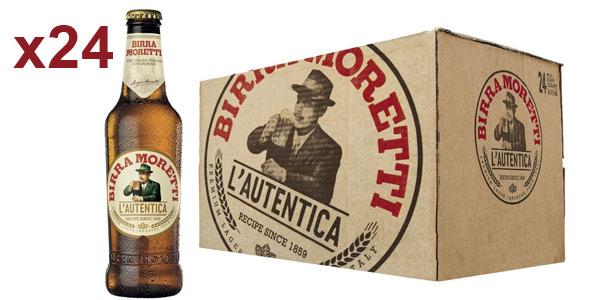 Caja x24 botellas de cerveza lager Birra Moretti de 33 cl barata en Amazon