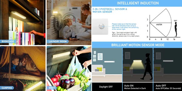 Pack x3 Luces LED Tolare con sensor de movimiento baratas en Amazon