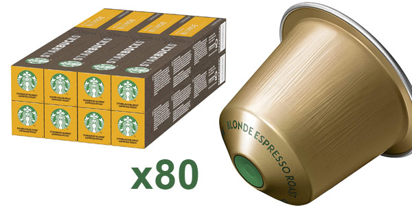 Pack x80 Cápsulas de café Starbucks Blonde Espresso Roast barato en Amazon