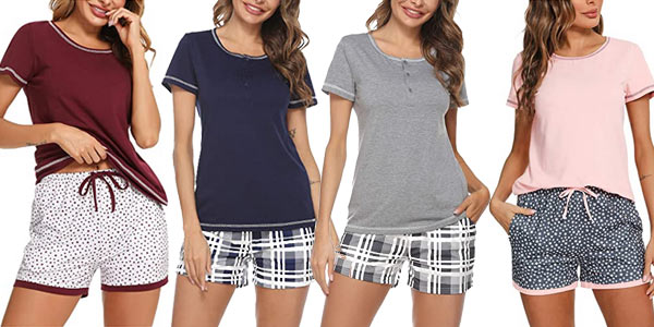 Pijama de manga corta Hawiton para mujer barato en Amazon