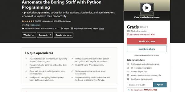 Python automate the boring stuff curso gratis