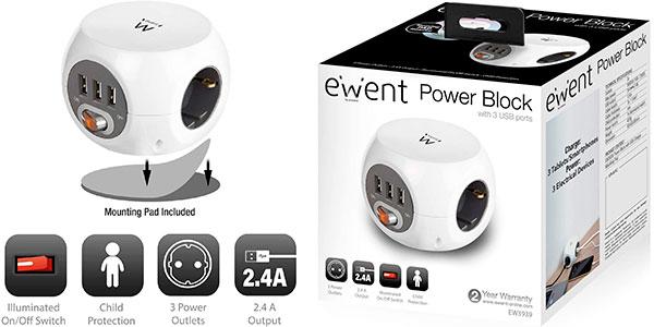 Regleta Ewent Power Block de 3 enchufes y 3 USB barata