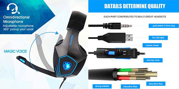 Auriculares gaming Sades SA819GT con cancelación de ruido baratos