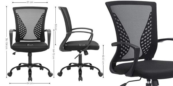 Silla de escritorio giratoria Songmics con respaldo ergonómico inclinable y regulable en altura oferta en Amazon