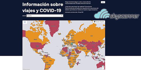 Skyscanner restricciones viajes Covid 2021 mapa