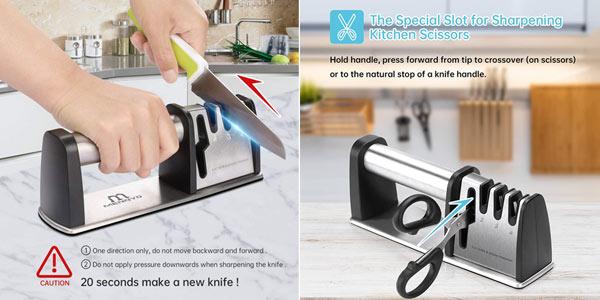 Afilador de cuchillos profesional Menneyo de 4 ranuras oferta en Amazon