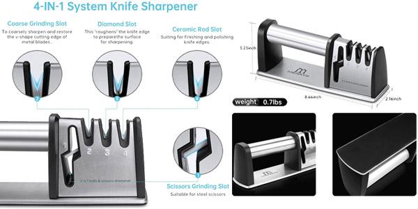 Afilador de cuchillos profesional Menneyo de 4 ranuras chollo en Amazon