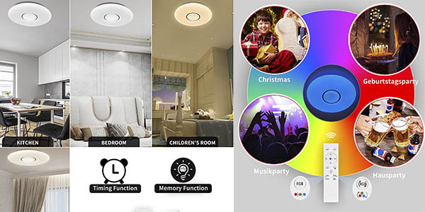 Anten lámpara techo LED regulable luz colores oferta