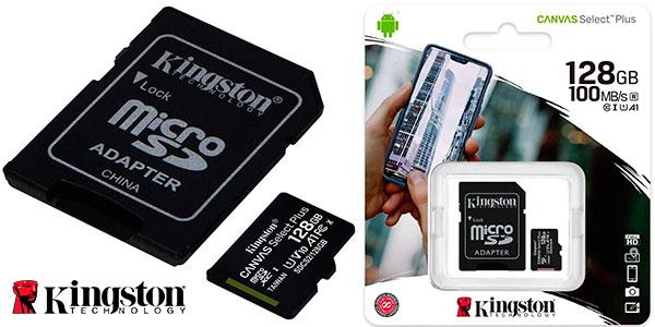 Chollo Tarjeta MicroSD Kingston Canvas Select Plus de 128 GB