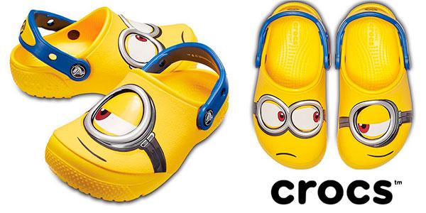 Chollo Zuecos Crocs Fun Lab Minions para niños
