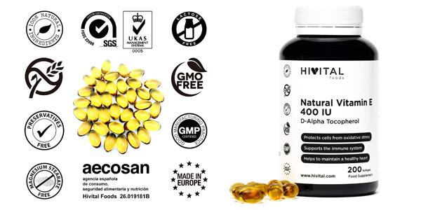 Envase x200 Perlas de Vitamina E Natural Hivital Foods de 400 UI barato en Amazon