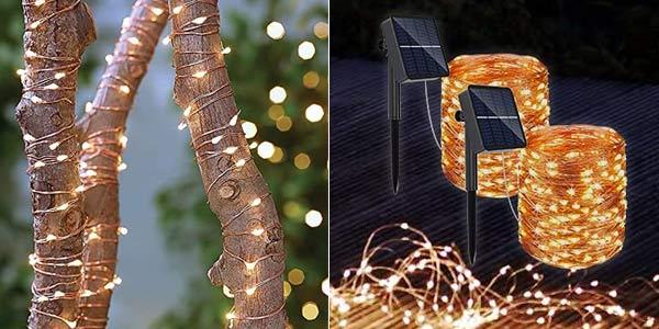 Pack x2 Guirnaldas solares LED Redstorm con 8 modos de luz baratas en Amazon