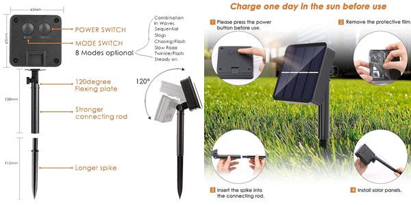Pack x2 Guirnaldas solares LED Redstorm con 8 modos de luz chollo en Amazon