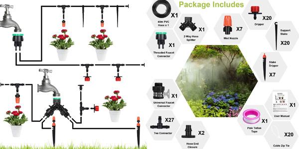 Sistema de riego de jardín Aiglam chollo en Amazon
