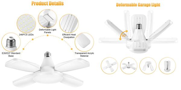 Lámpara LED para garaje Haofy de 60W con paneles ajustables chollo en Amazon