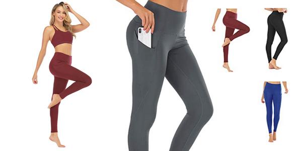 Leggings deportivos opacos Freezhoushana con cintura alta para mujer baratos en Amazon