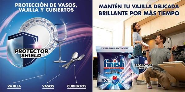 Pack x160 Pastillas para el lavavajillas con protección para la vajilla Finish Powerball Quantum Infinity Shine chollo en Amazon