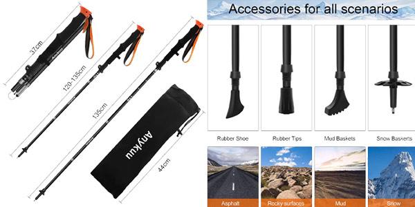 Pack x2 Bastones trekking de longitude adjustable chollo en Amazon