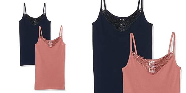 Pack x2 camisetas de tirantes Only Onlkira Lace para mujer barato en Amazon