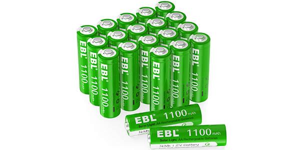Pack x20 Pilas AA EBL de 1100 mAh recargables sin efecto memoria