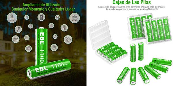Pack x20 Pilas AA EBL de 1100 mAh recargables sin efecto memoria en Amazon