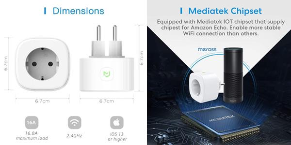 Pack x3 Enchufes WiFi Meross de 16 A compatibles con asistentes de voz oferta en Amazon