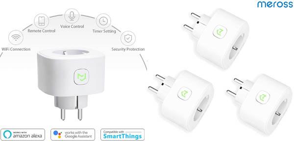 Pack x3 Enchufes WiFi Meross de 16 A compatibles con asistentes de voz baratos en Amazon