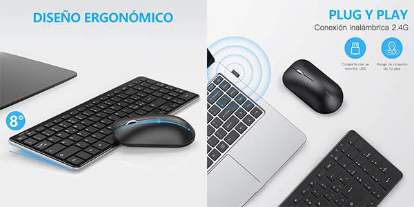 Combo de teclado y ratón inalámbricos OMOTON en Amazon