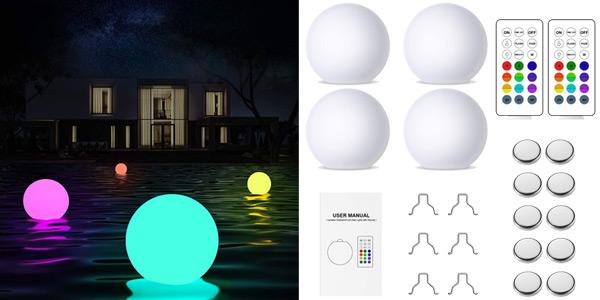 Pack x4 bolas de luz flotantes impermeables para piscina con control remoto baratas en Amazon