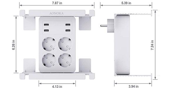 Regleta de pared Aonoka con 4 enchufes y 4 USB barata