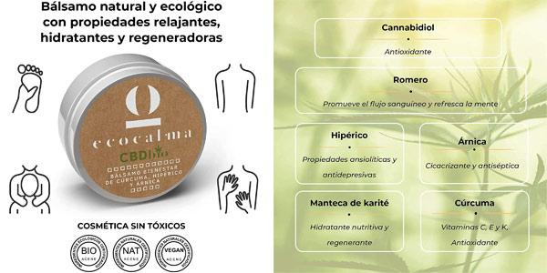 Bálsamo relajante ecocalma CBD Bio chollo en Amazon