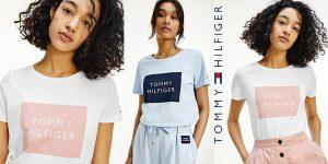 Camiseta de manga corta Tommy Hilfiger con logo enmarcado para mujer barata en Amazon