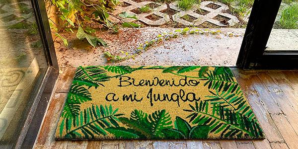 """Chollo Felpudo de coco natural """"Bienvenido a mi jungla"""""""