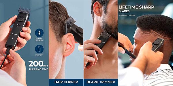 Cortapelos y recortador de barba 6 en 1 Tomight recargable en oferta