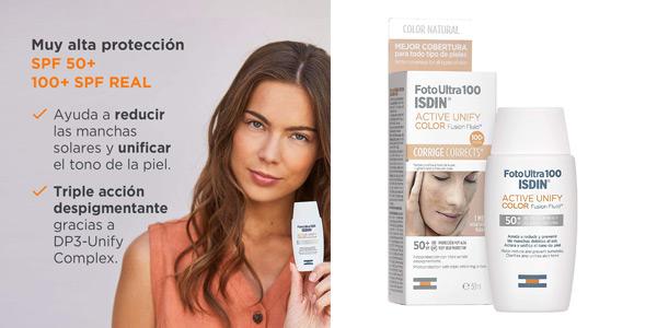 Protector solar FotoUltra 100 ISDIN Active Unify Color Fusion Fluid de 50 ml barato en Amazon