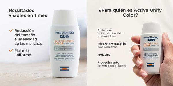 Protector solar FotoUltra 100 ISDIN Active Unify Color Fusion Fluid de 50 ml chollo en Amazon