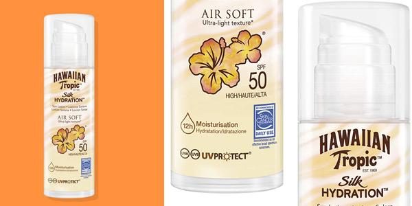Crema solar ultraligera Hawaiian Tropic Silk Air Soft SPF 50 barata en Amazon