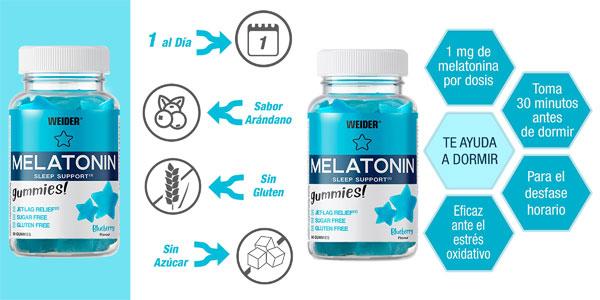 Envase x60 Gominolas Melatonin Up de Weider sabor arándano barato en Amazon