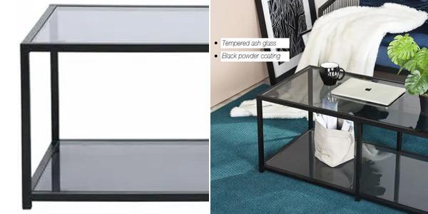Mesa de centro rectangular gris ceniza chollo en ManoMano