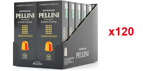 Pack x120 Cápsulas de café Pellini Caffè Espresso Pellini Luxury Coffee Armonioso compatibles con Nespresso baratas en Amazon