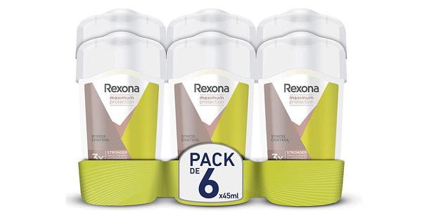 Pack x6 Desodorantes antitranspirantes en crema Rexona Maximum Protection Stress Control de 45 ml barato en Amazon