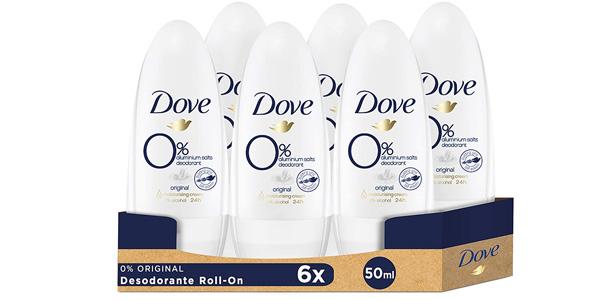 Pack x6 Desodorante Roll-on Dove Original 0% Sales minerales barato en Amazon