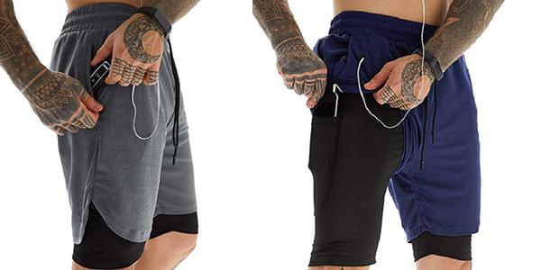 Pantalones cortos deportivos 2-en-1 Voqeen de secado rápido para hombre baratos en Amazon