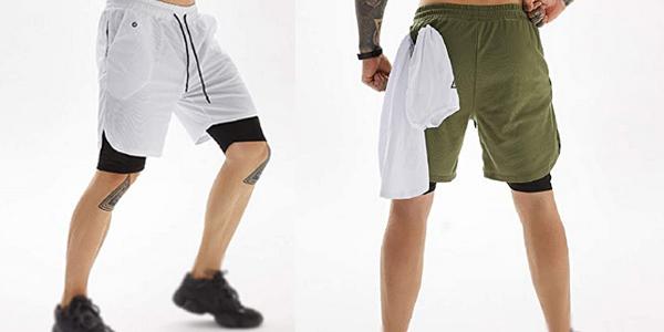 Pantalones cortos deportivos 2-en-1 Voqeen de secado rápido para hombre chollo en Amazon
