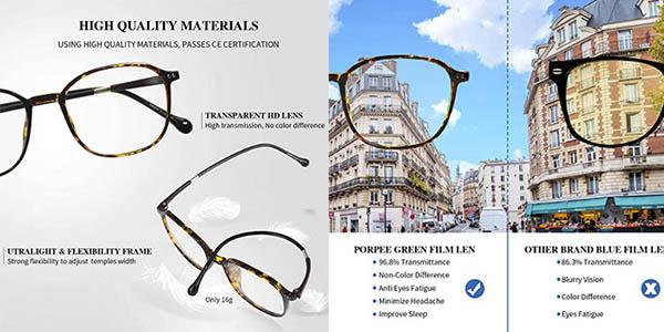 Porpee gafas protección luz azul fatiga visual oferta