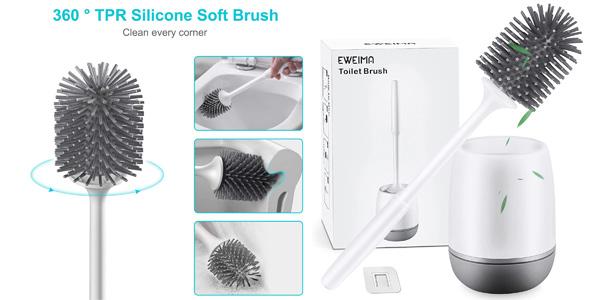 Set Escobilla de baño de silicona + portaescobillas Eweima barato en Amazon
