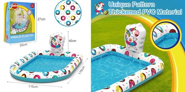 Mini piscina hinchable con aspersores Vatos Splash para exterior oferta en Amazon