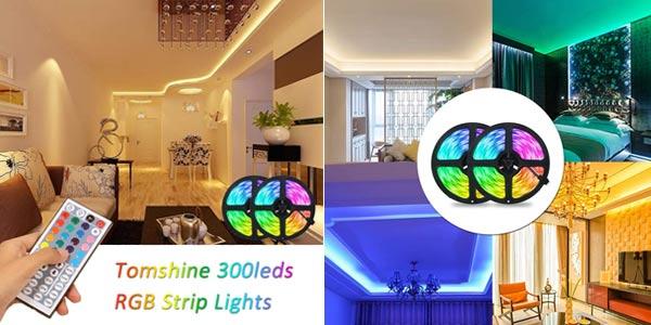 Set x2 Tiras LED RGB 5050 Tomshine de 5 m/ud con control remoto chollo en Amazon