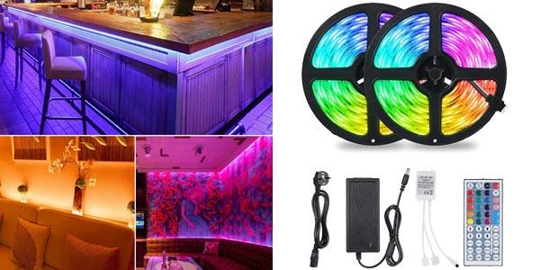 Set x2 Tiras LED RGB 5050 Tomshine de 5 m/ud con control remoto baratas en Amazon